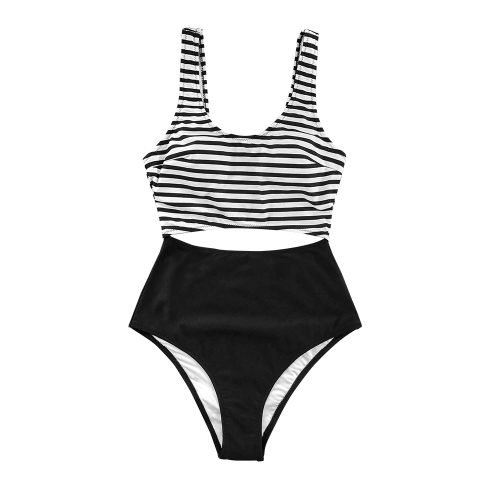Stripe Cut Out One-Piece Swimsuit