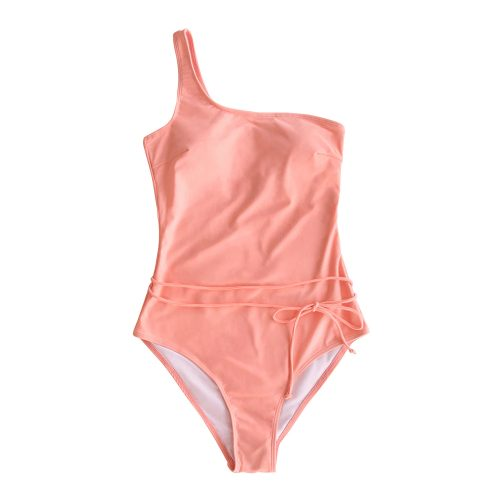Solid Pink One-Shoulder Swimsuit