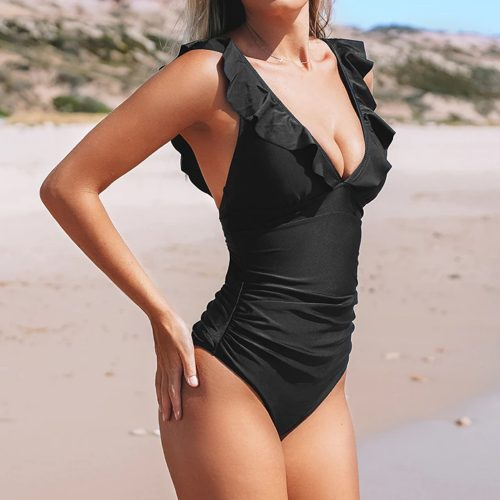 Solid Ruffled Swimsuit