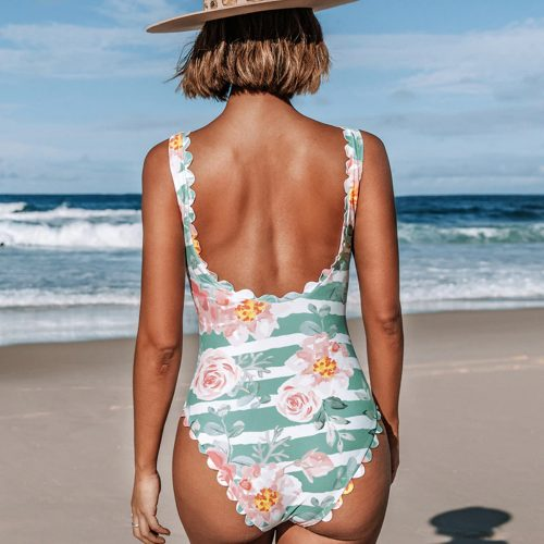 Floral and Striped One Piece Swimsuit
