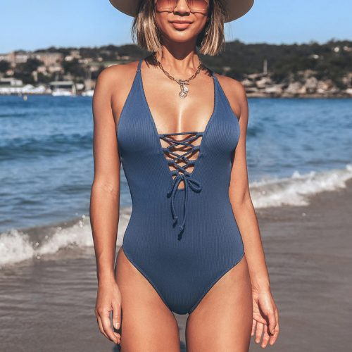 One-Piece Lace-Up Swimsuit