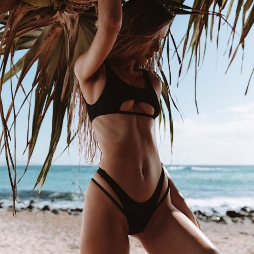 Solid Fashion Cut Out Swimsuit