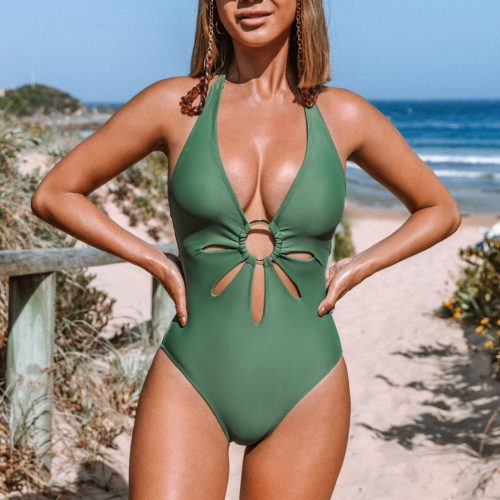 One-Piece Swimsuit with Flower Cut Out